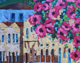 My Get Away Original Oil Painting on Canvas, Flower Art, Landscape Painting by Rebecca Beal