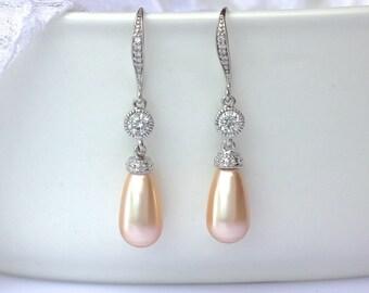 Peach Pearl Drop Earrings, Peach Blush Bridal Earrings, Swarovski Pearl Earrings, Pearl & Crystal Wedding Earrings, AUDREY