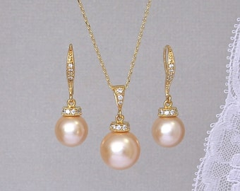 Peach Blush Gold Jewelry Set, Peach Pearl Bridal Set, Peach Bridesmaids Jewelry Set, Wedding Jewelry Set, SISSY 2 G