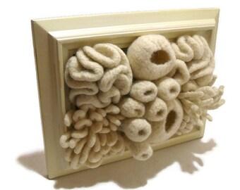 Coral Reef Art, Coral Reef Fiber Art, Nautical Wall Decor, Ocean Art, Nautical Nursery, Ocean Decor, Framed Coral Reef, Felted Wool Art