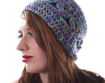 Geometric Slouchy Beanie Open Stitch Hat Womens Summer Hat Ombre Purple Beanie Festival Hat Summer Slouchy Hat