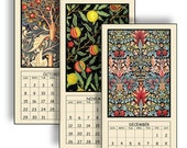 "HALF PRICE 2017 Digital Calendar Printable 5"" X 10"" Vintage William Morris Design 12 Different Images Instant Downloads Art Nouveau CAL 10"