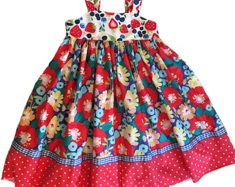 Girls Reverse Knot Dress Blueberries and Strawberries