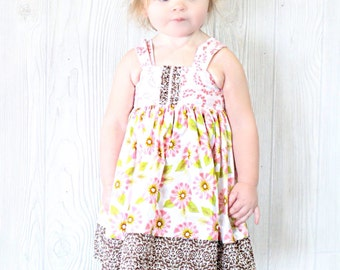 Girls Reverse Knot Dress Florabella Pink Brown Floral Toddler Infant Girls