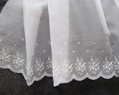 100 Percent Swiss Cotton Organdy Flounce - Embroderied 27 Inche Wide Flounce - Heirloom Sewing Supplies - Doll Dress Supplies