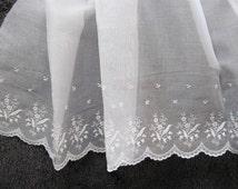 100 Percent Swiss Cotton Organdy Flounce - Embroderied 27 Inche Wide Flounce - Heirloom Sewing Supplies - Doll Dress Supplies