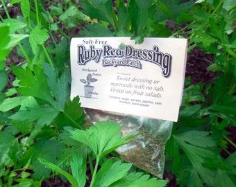 Salt-free Ruby Dressing Mix, Hand-blended Dry salt free Cooking Herb Mix, no salt, gluten free