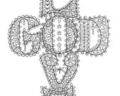 Instant Download Love God Cross Christian Coloring Page Adult Coloring