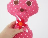 Cat doll , pink fabric cat - stuffed cat toy , pink cat doll ,  baby girl gift unique