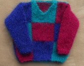 Baby/toddler sweater/jumper, hand knitted in fluffy mohair yarn. Suit boy or girl age approx 12 m, chest 20-22 in
