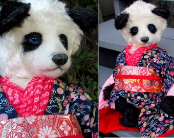Sakura: OOAK Mohair Panda Teddy Bear Japanese Artist Bear Kimono Character Asian Girl Soft Sculpture Stuffed Toy Animal Realistic Beautiful