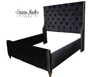 Tall Tufted King Bed Wingback Upholstered Black Velvet Extra Tall Bed Frame Any SIZE FABRIC BUTTON Made To Order