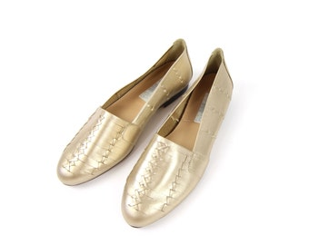 VINTAGE Gold Shoes Pale Metallic Woven Leather Size 6