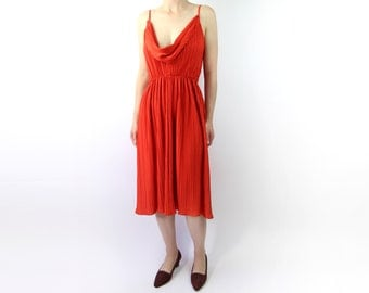 VINTAGE 1970s Red Disco Dress Low Cut Pleated