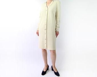 VINTAGE Ivory Beaded Dress Longsleeve Wool Short