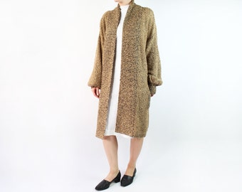 VINTAGE Slouchy Sweater Long Cardigan Brown
