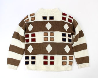 VINTAGE 1980s Geometric Sweater Stripes Shapes