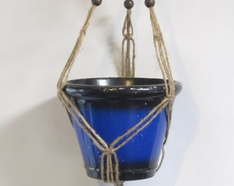 Macrame Plant Hanger Mini 20in FRIENDSHIP - All Natural Jute with Beads