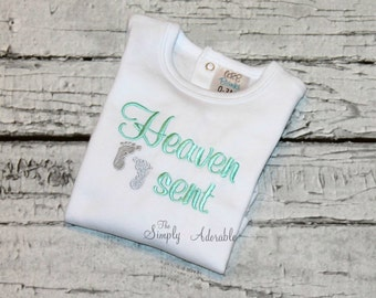 "Newborn  Boy's ""Heaven Sent"" Bodysuit, Newborn Girl's Outfit, Unisex Coming Home Outfit, Hospital Outfit"