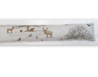 Woodland Fabric Draught Excluder, Fabric, Door, Stag, Fox, Woodland, Nature,Home Decor, Handmade, Fabric, Home, Home and Garden
