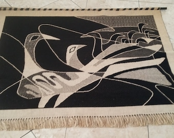 mid century modern 60s 70s vintage tapestry wall hanging MCM