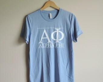 New Alpha Phi Blue & White Stripe Short Sleeve Shirt // Size S-2XL