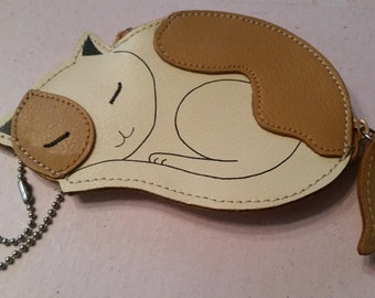 Vintage Rolfs Leather Accessory Sleeping Kitty Leather Zipper Pull Change Purse Zippered Tan and Off White