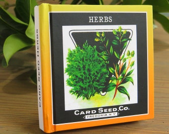 Small Garden Journal - Card Seed Herbs- Seed Packet Art Print Cover