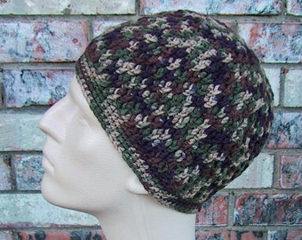CAMO Beanie - Mens Hat Size Small/Medium - Hunting Gear - Hand Crocheted - Soft Acrylic Yarn - Super Warm Winter Cap - Camouflage Colors
