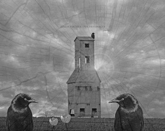 Gothic Style Image Blackbird Old Grain Elevator Clouds Wall Art Home Decor Digital Download Fine Art Photography Linda Fischer Fischerimages