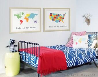 Map art for teenager room. Wall decor for teens. Teenage boy room, industrial girl decor. Tween. World map SET OF 2 map prints by WallFry