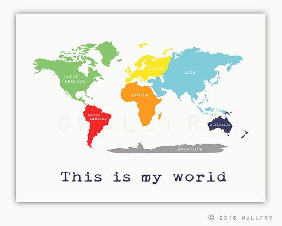 Kids Wall Art World Map Print With Continents Childrens Wall - Children's maps to print