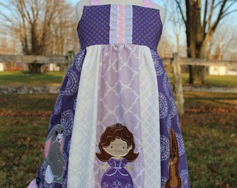 Sofia the First Dress, Sofia, Clover and Whatnaught together in a themed Dress inspired by Disney's Princess Sofia, sizes 2T-8girls