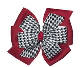 "Large Alabama Hair Bow,  Crimson Tide 4"" Layered Bow, Houndstooth and Crimson"