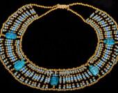 Egyptian blue bedead  Queen Cleopatra Necklace 5 Scarab Mega Sale