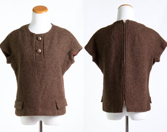 Vintage 1960s Brown Boucle Wool Shell Top * Shirt Blouse Preppy Chocolate Winter Mod Retro Jackie O Mad Men * Size Large * FREE SHIPPING
