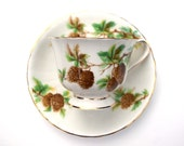 Clarence teacup and saucer pine cones bone china English teacups winter holidays Christmas gift for friend antique tea cups pine tree cups