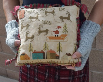 Finished cross stitch pillow handmade rustic farmhouse decor Christmas embroidery home decor