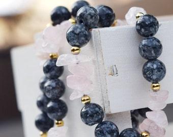 Jasper beads rose quartz chips 1 strand necklace gemstone strand gold color beads womens jewelry