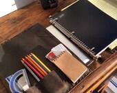 Vesey leather binder, handmade leather pad folio binder, iPad organizer, tablet case, business portfolio handmade by Aixa Sobin - maker