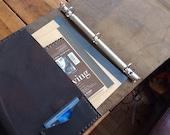 Yeaton binder, handmade leather binder, large leather three ring binder with pockets, handmade leather notebook portfolio binders by Aixa