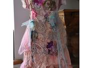 RESERVED For Karina Art To Wear Silk Velvet/Cotton Dress With Antique Millinery Old Doilies ANTOINETTE SHEPHERDEs Fairy Romantic Tattered