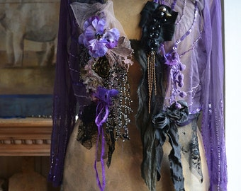 Unique Art To Wear Lovely Elegant Transparent  Jacket/Bolero PURPLE TWENTIES Fairy Gothic Gipsy Tattered