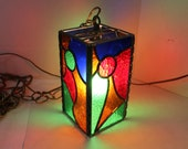 Vintage Stained Glass Hanging Light Fixture primary colors square design