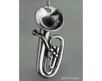 Sterling Silver Tuba Charm Musical Instrument Music 3D Solid .925