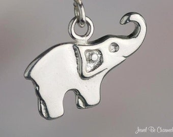 Sterling Silver Good Luck Elephant Charm Raised Trunk Lucky Solid .925