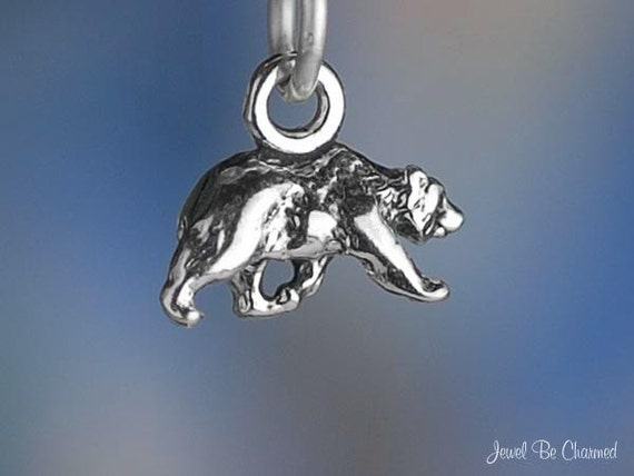 Miniature Sterling Silver Walking Bear Charm Tiny Bears 3D Solid .925
