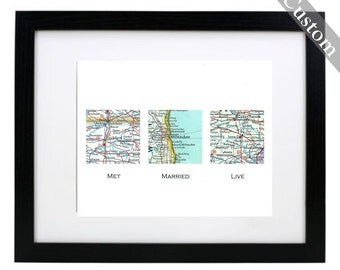 CUSTOM Three Square Map Art Print. Print Only. You Select Locations Worldwide. Personaized Text. Wedding. Anniversary. Gifts For Him. Groom.