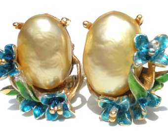 Blue Flower Clip Earrings Faux Pearl Cabochon on Gold Tone - Signed ART Vintage Jewelry