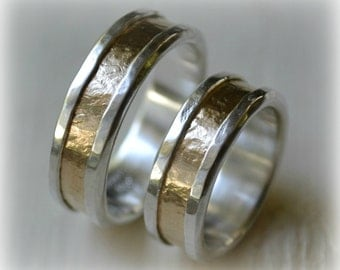his and hers wedding bands - artisan designed handmade fine silver and 14k yellow gold wedding bands - matching rings - customized